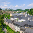 Old town and Skyscraper of Kirchberg district in the City of Luxembourg — Stok fotoğraf