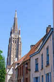 Old Town and the Church of Our Lady in Bruges, Belgium — Stock Photo