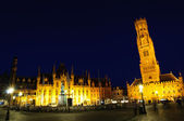 Markt (Market Square) of Bruges at dusk — ストック写真