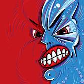 Argt ansikte vektor tecknadnaštvaný obličej vektor kreslené. — Stock vektor