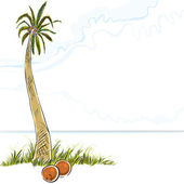 Illustration of palm tree in island, vector. — Stock Vector