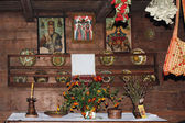Interior of an old wooden house of the 15th century — Foto Stock