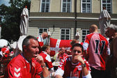 Football fans of Denmark — Stock Photo