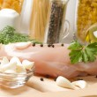 Preparation of raw chicken breast — Foto Stock