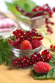 Red currant and raspberry on the glass bowl — Stock Photo