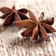 Stars anise on the wood — Stock Photo