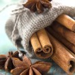 Cinnamon and anise in small burlap sack — Stock Photo #11418618
