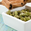 Stock Photo: Cardamom and cinnamon