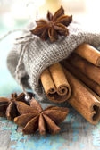 Cinnamon and anise in a small burlap sack — Stock Photo