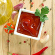 Red hot chili sauce - Stock Photo