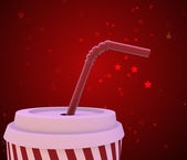 Beverage cup on red background — Stock Photo