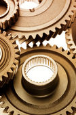 Steel cogs meshing together — Stock Photo