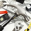Assorted work tools on plain background - 图库照片