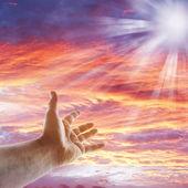 Hand in sky — Stock Photo