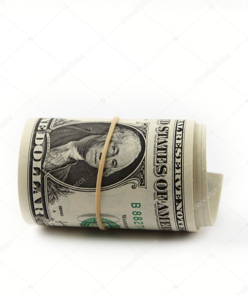 Roll of U.S. banknotes rolled up on plain background — Stock Photo #12234286