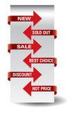 Set of vector arrow sale stickers. — Stock Vector