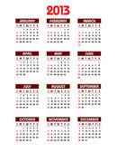 Calendario 2013. vettore eps10. — Vettoriale Stock