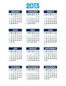 2013 Calendar. Vector Eps10. — Stock Vector