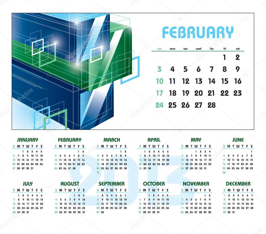 February Calendar Illustration : Calendar february — stock vector