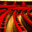 Theater red velvet chairs — Stockfoto