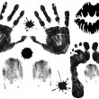 Foot, finger, lips and hand prints — Stockvectorbeeld