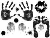 Huellas de pies, dedos, labios y manos — Vector de stock