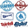 Seafood stamps — Stock Vector