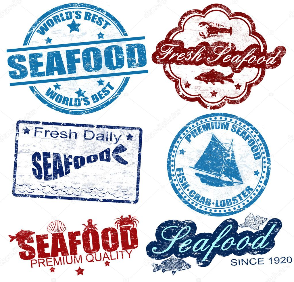 Set of grunge rubber stamps with the word seafood written inside, vector illustration — Stock Vector #11078664