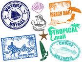 Summer stamps — Stock Vector