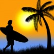 Surfer silhouette on tropical sunset — Stock Vector