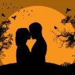 Stock Vector: Couple kissing at sunset