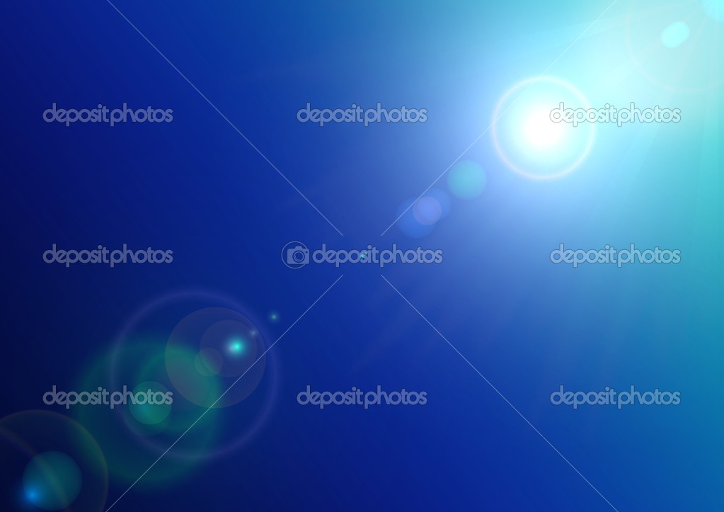 Background texture with sun and lens flare on blue sky, vector illustration — Stock Vector #11394870