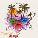 Tropical poster design — Stock Vector