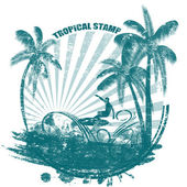 Tropical stamp — Vettoriale Stock