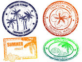 Tropical summer stamps — 图库矢量图片
