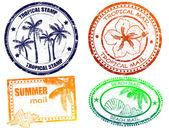 热带夏天邮票 — 图库矢量图片