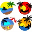 Summer beach icons — Stock Vector