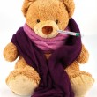 Teddy bear with thermometer — Stock Photo