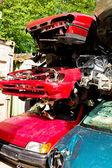 Scrap cars in a junkyard — Stock Photo