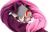 House with a scarf. photo icon insulation — Stock Photo