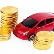Model car and coins. car costs — Stock Photo #10835810