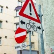 Stock Photo: Road signs for bicycle lanes