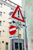 Road signs for bicycle lanes — Stock Photo