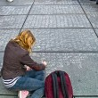 Math problem on a pavement - Stok fotoraf