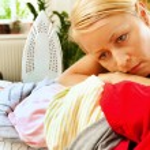 Housewife ironing — Stock Photo