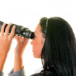 Businesswoman with binoculars looking to the future — Stock Photo