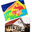 Energy savings. house with thermal imaging — ストック写真