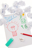 заболеваемость и идеи с лампочки. — Стоковое фото