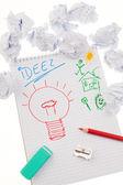 発生率と電球のアイデア. — ストック写真