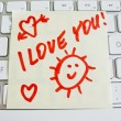 Stock Photo: Note on computer keyboard: i love you
